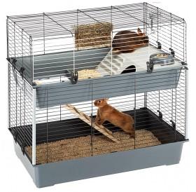 Ferplast Rabbit 100 Double /напълно оборудвана клетка за зайци на две нива/-99x51,5x92см