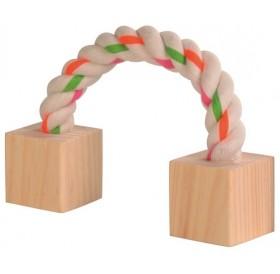 Trixie Playing Rope /играчка за гризачи въже с кубчета/-20см