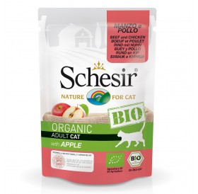 Schesir BIO Pouch Beef and Chicken with Apple /храна за израснали котки с говеждо пилешко месо и ябълка/-85гр