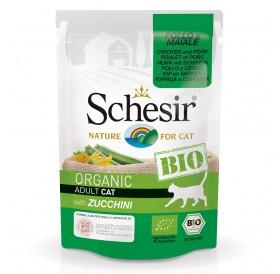 Schesir BIO Pouch Chicken and Pork with Zucchini /храна за израснали котки с пилешко свинско месо и тиквички/-85гр