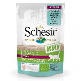 Schesir BIO Pouch Kitten Chicken /храна за подрастващи котенца с пилешко месо/-85гр