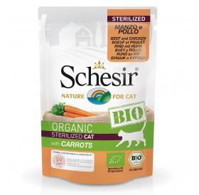 Schesir BIO Pouch Sterilized Beef and Chicken with Carrots /храна за кастрирани котки с говеждо пилешко месо и моркови/-85гр