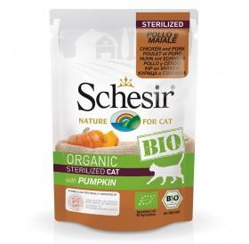 Schesir BIO Pouch Sterilized Chicken and Pork with Pumpkin /храна за кастрирани котки с пилешко свинско месо и тиква/-85гр