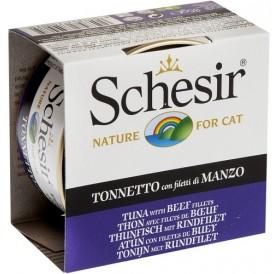 Schesir Tuna&Beef Fillets in Jelly /храна за израснали котки с риба тон и говежди филенца в желе/-85гр