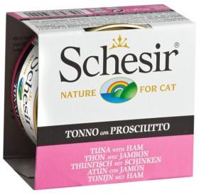 Schesir Tuna&Ham in Jelly /храна за израснали котки с риба тон и шунка в желе/-85гр