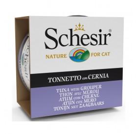 Schesir Tuna with Grouper /храна за израснали котки с риба тон и групер в желе/-85гр