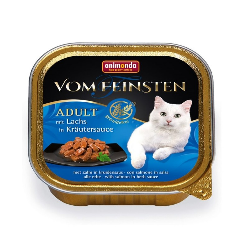 Animonda Vom Feinsten Adult Salmon in Herbs Sauce /хапки за котки над 12 месеца със сьомга в билков сос/-100гр