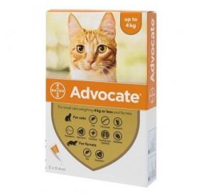 Bayer Advocate Cat 40 spot-on /пипети за широкоспектърна защита срещу вътрешни и външни паразити за котки и порчета до 4кг/-3бр