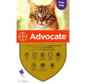 Bayer Advocate Cat 80 Spot-On /Пипети За Широкоспектърна Защита Срещу Вътрешни И Външни Паразити За Котки От 4 До 8кг/-3бр