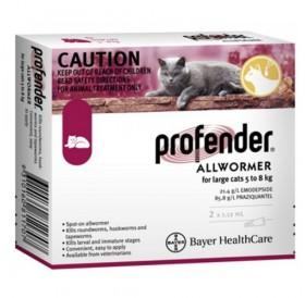Bayer Profender For Large Cats Spot-On /Обезпаразитяващи Пипети За Вътрешни Паразити За Котки От 5 До 8кг/-2бр