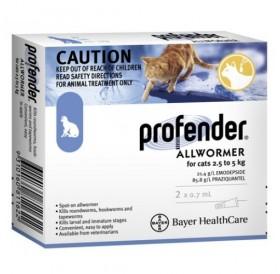 Bayer Profender For Medium Cats Spot-On /Обезпаразитяващи Пипети За Вътрешни Паразити За Котки От 2,5 До 5кг/-2бр