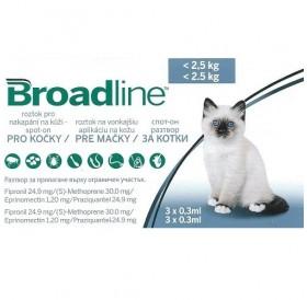 Broadline™ Spot-on /пипети за широкоспектърна защита срещу вътрешни и външни паразити за котки до 2,5кг/-3бр