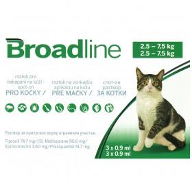 Broadline™ Spot-on /пипети за широкоспектърна защита срещу вътрешни и външни паразити за котки от 2,5 до 7,5кг/-3бр