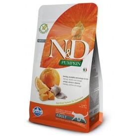 N&D Cat Adult Pumpkin Herring&Orange /Пълноценна Храна За Израснали Котки С Херинга Тиква И Портокал/-300гр