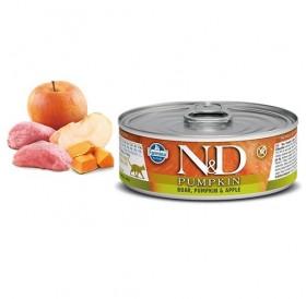N&D Cat Grain Free Pumpkin Adult Boar&Apple Wet Food /пълноценна храна за израснали котки с глиган тиква и ябълка/-80гр
