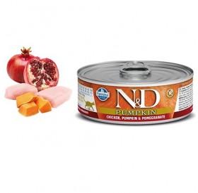 N&D Cat Grain Free Pumpkin Adult Chicken&Pomegranate Wet Food /пълноценна храна за израснали котки с пиле тиква и нар/-80гр