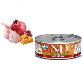 N&D Cat Grain Free Pumpkin Adult Quail&Pumpkin Wet Food /пълноценна храна за израснали котки с пъдпъдък и тиква/-80гр