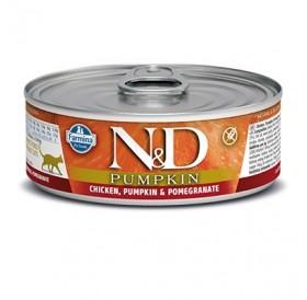N&D Cat Adult Pumpkin Chicken&Pomegranate Wet Food /пълноценна храна за израснали котки с пиле тиква и нар/-80гр