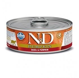 N&D Cat Adult Pumpkin Quail&Pumpkin Wet Food /пълноценна храна за израснали котки с пъдпъдък и тиква/-80гр