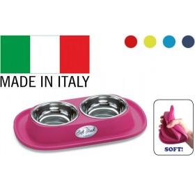 Georplast Soft Touch Inox Double /комплект метални купи за хранене с гумена поставка/-31x20x3,5см