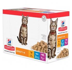 Hill's Science Plan™ Feline Adult FAVOURITE SELECTION Pouches /храна за израснали котки различни видове/-12x85гр