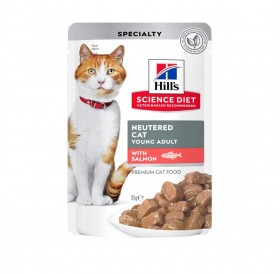 Hill's Science Plan™ Young Adult Sterilized Cat Chunks In Gravy Pouches Salmon /Храна За Млади Кастрирани Котки Със Сьомга/-12x85гр