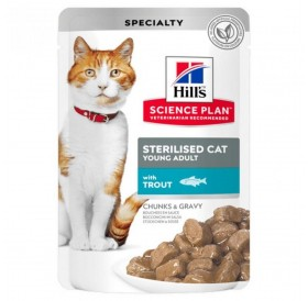 Hill's Science Plan™ Young Adult Sterilized Cat Chunks In Gravy Pouches Trout /Храна За Млади Кастрирани Котки С Пъстърва/-12x85гр