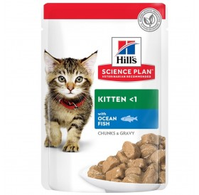 Hill's Science Plan™ Kitten Chunks in Gravy Pouches Ocean Fish /храна за подрастващи котенца с океанска риба/-12x85гр
