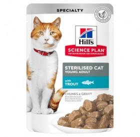 Hill's Science Plan™ Feline Sterilised Cat Young Adult TROUT Pouches /храна за кастрирани подрастващи котенца с пъстърва/-12x85гр