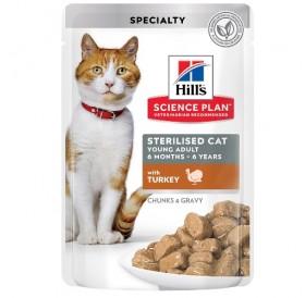 Hill's Science Plan™ Feline Sterilised Cat Young Adult TURKEY Pouches /храна за кастрирани подрастващи котенца с пуешко месо/-12x85гр