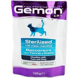 Gemon Cat Sterilized Chunkies With Tuna and Dory Pouches /Храна За Кастрирани Котки С Риба Тон И Дори/-12x100гр