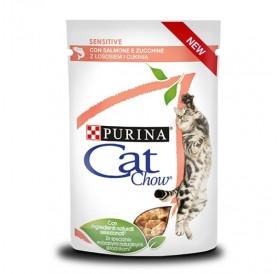 Cat Chow Sensitive /Храна За Израснали Котки Със Сьомга И Тиквички/-24x85гр