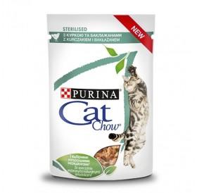 Cat Chow Sterilised Chicken /Храна За Израснали Котки След Кастрация С Пилешко Месо И Патладжан/-24x85гр