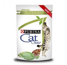 Cat Chow Sterilised Lamb /Храна За Израснали Котки След Кастрация С Агнешко Месо И Зелен Фасул/-24x85гр