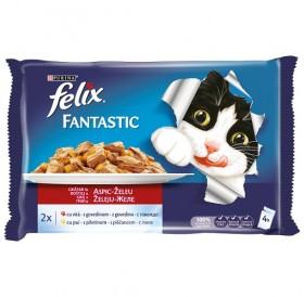 Felix Fantastic Adult Mixed Selection In Jelly /Храна За Израснали Котки С Пилешко И Говеждо Месо В Желе/-4х100гр