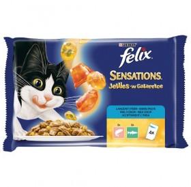 Purina® Felix® Sensations® Jellies Adult Fish Selection /храна за израснали котки с различни видове месо от риба и зеленчуци/-4х100гр
