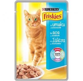Purina® Friskies® Adult with Salmon in Sauce /храна за израснали котки със сьомга в сос/-100гр