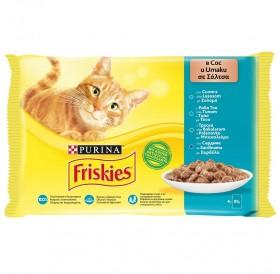 Friskies Adult With Fish Selection In Sauce /Храна За Израснали Котки Със Сьомга Риба Тон Сардина и Треска В Сос/-4х85гр