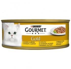 Purina Gourmet Gold Double Pleasure Beef&Chicken /Храна За Израснали Котки С Говеждо И Пилешко Месо/-85гр