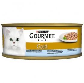 Purina® Gourmet® Gold Double Pleasure Ocean Fish&Spinach /храна за израснали котки с океанска риба и спанак в сос/-85гр