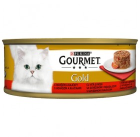 Purina® Gourmet® Gold Savoury Cake with Beef and Tomatoes /храна за израснали котки местен пай с говеждо месо и домати/-85гр