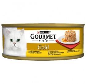 Purina Gourmet Gold Savoury Cake With Chicken And Carrots /Храна За Израснали Котки Местен Пай С Пилешко Месо И Моркови/-85гр