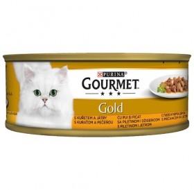 Purina Gourmet Gold With Chicken&Liver In Gravy /Храна За Израснали Котки С Пиле И Черен Дроб В Сос/-85гр