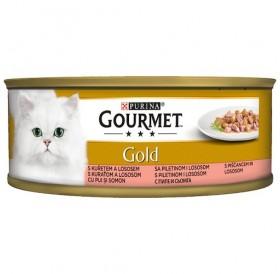 Purina Gourmet Gold With Salmon&Chicken In Gravy /Храна За Израснали Котки С Пиле И Сьомга В Сос/-85гр