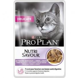 Purina Pro Plan Nutri Savour Delicate with Turkey in Sauce /храна за израснали котки с чувствителна храносмилателна система и кожа/-85гр