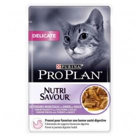 Pro Plan Nutri Savour Delicate With Turkey In Sauce /Храна За Израснали Котки С Чувствителна Храносмилателна Система И Кожа/-85гр