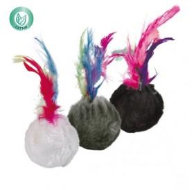 Trixie Plush Balls /играчка за котка топка с пера/-Ø4см