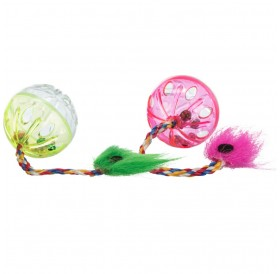 Trixie Set Of Rattling Balls With Tails /Играчки За Коте/-2бр