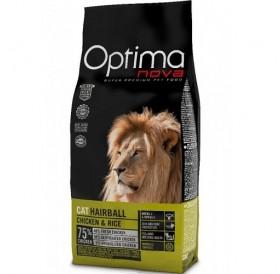Optima nova CAT Hairball Chicken&Rice /храна за израснали котки за естествено отделяне на космените топки с пилешко месо и ориз/