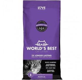 World's Best Cat Litter Multiple Cat Lavender Scented /Ароматизирана Котешка Постелка Произведена На Царевична Основа/-3,18кг